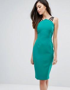Платье-футляр с бретельками и молнией на спине Vesper - Зеленый