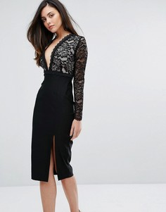 Кружевное платье-футляр с разрезом и глубоким вырезом Vesper - Черный