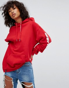 Свободный худи с принтом Worldwide на рукавах Wasted Paris - Красный