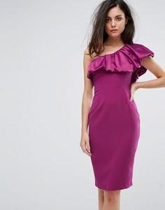 Платье-футляр с атласной оборкой на одно плечо Vesper - Красный