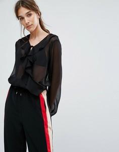 Шифоновое боди с запахом, оборками и завязками на манжетах Neon Rose - Черный