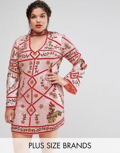 Платье с чокером и отделкой Frock And Frill Plus - Мульти