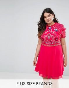 Короткое приталенное платье с отделкой Frock And Frill Plus - Розовый
