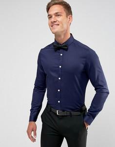 Темно-синяя эластичная облегающая рубашка ASOS - Темно-синий