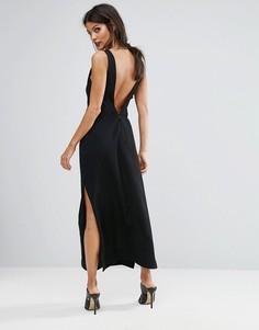 Платье макси с глубоким V-образным вырезом сзади Finders Luca - Черный