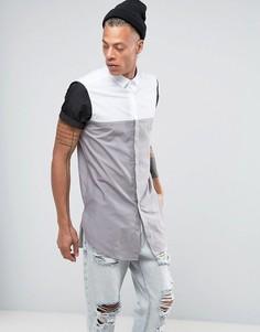 Супердлинная серая рубашка классического кроя со вставками ASOS - Серый
