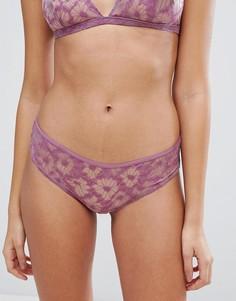 Кружевные трусики с цветочным узором Weekday Naima - Фиолетовый
