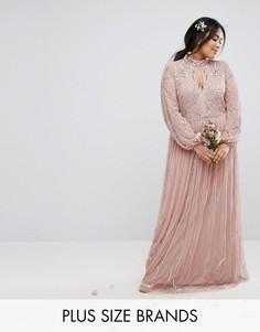 Платье макси с цветочным узором из пайеток и юбкой из тюля Lovedrobe Luxe - Фиолетовый