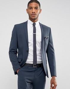 Темно-синий эластичный приталенный пиджак Selected Homme - Темно-синий