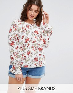 Блузка с цветочным принтом и завязками на манжетах Alice & You - Мульти