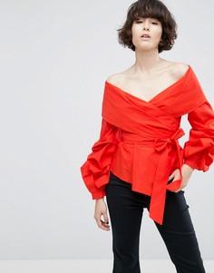 Рубашка с запахом ASOS WHITE - Красный
