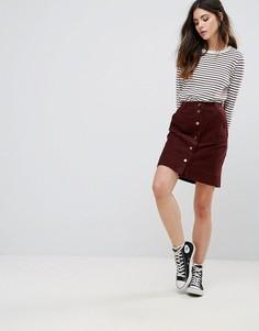 Вельветовая юбка на пуговицах Daisy Street - Красный