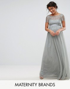 Платье макси для беременных с кружевным лифом Little Mistress Maternity - Серый