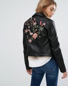 Байкерская куртка из искусственной кожи с вышивкой Only - Черный