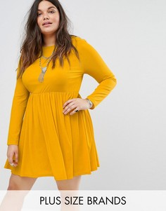 Свободное платье с длинными рукавами и плиссированной юбкой Alice & You - Желтый