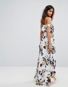 Платье макси с цветочным принтом и открытыми плечами Boohoo - Белый