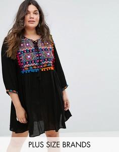 Свободное платье с вышивкой, зеркальной отделкой и помпонами Alice & You - Черный