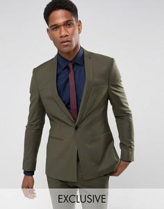 Супероблегающий пиджак цвета хаки с квадратными полами Noak - Зеленый