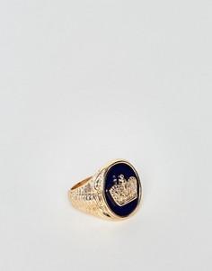 Черно-золотистое кольцо-печатка с короной ASOS - Золотой