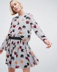 Блузка с цветочным принтом Ganni Bartlette - Темно-синий