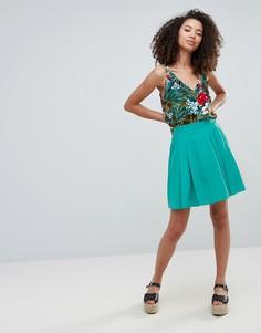Короткая расклешенная юбка Louche Eden - Зеленый