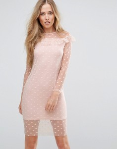 Сетчатое платье с оборкой Parisian - Розовый