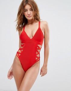 Слитный купальник с решеткой из лямок по бокам Missguided - Красный