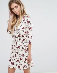 Платье из крепа с принтом Ganni Maxwell - Красный