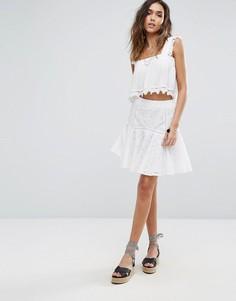 Расклешенная юбка-мини с вышивкой ришелье Boohoo - Белый