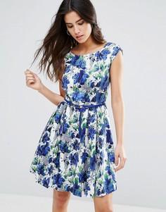 Короткое приталенное платье с поясом Louche Julita - Синий