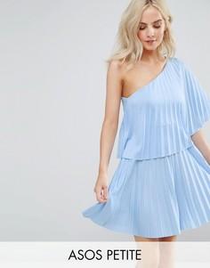 Плиссированное платье мини на одно плечо ASOS PETITE - Синий