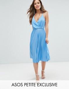 Плиссированное платье миди с запахом ASOS PETITE - Мульти