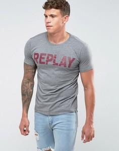 Футболка с логотипом Replay - Серый