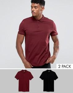 Набор из 2 трикотажных футболок-поло ASOS - СКИДКА - Мульти