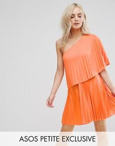 Плиссированное платье мини на одно плечо ASOS PETITE - Мульти