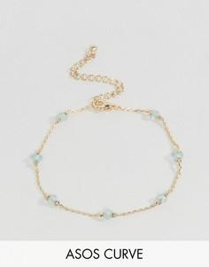 Тонкий браслет-цепочка с камнями ASOS CURVE - Золотой