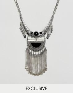 Ожерелье с камнем и подвеской-монеткой Reclaimed Vintage Inspired - Серебряный