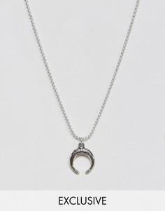 Ожерелье с подвеской в форме рога Reclaimed Vintage Inspired - Серебряный