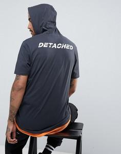 Супердлинная двухслойная футболка с капюшоном, принтом на спине и рваной отделкой ASOS - Серый