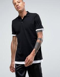 Длинная футболка-поло с контрастными манжетами и краем ASOS - Черный