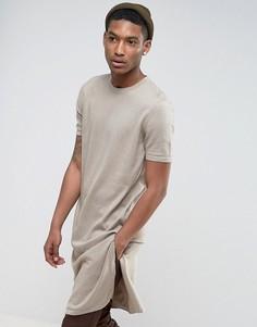 Длинная футболка с разрезами по бокам ASOS - Бежевый