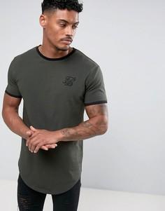Обтягивающая футболка цвета хаки SikSilk - Зеленый