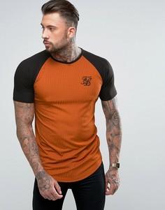 Красно-бурая обтягивающая футболка с рукавами реглан SikSilk - Оранжевый