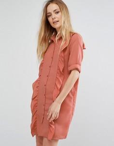 Платье-рубашка с оборкой спереди Vila - Розовый