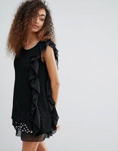 Платье в горошек с оборками Jasmine - Черный