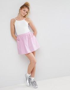 Короткая расклешенная юбка из хлопкового поплина с карманами ASOS - Розовый