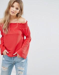 Топ с открытыми плечами и расклешенными рукавами New Look - Красный