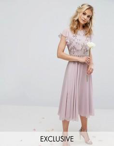 Шифоновое платье миди с отделкой и расклешенной юбкой Maya - Фиолетовый