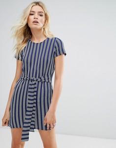 Платье-футболка в полоску с поясом Daisy Street - Синий