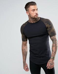 Черная обтягивающая футболка с камуфляжным принтом на рукавах SikSilk - Черный